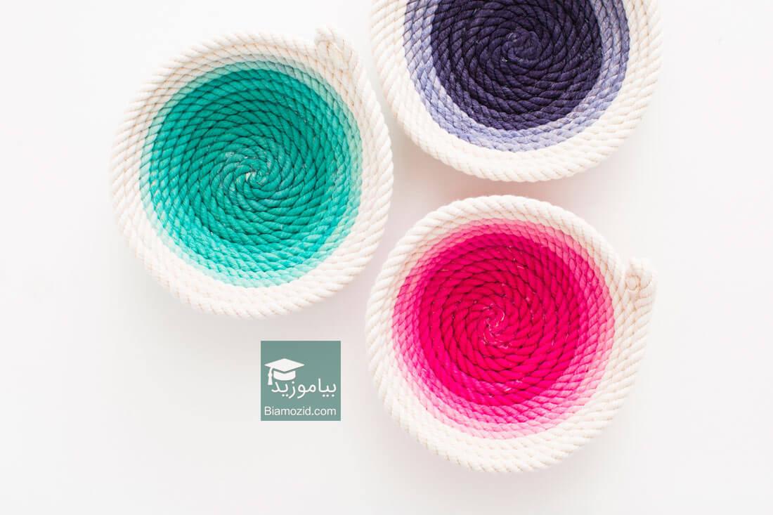 تصویر از چگونه سبد طنابی رنگی  زیبا و بدون دوختن درست کنیم