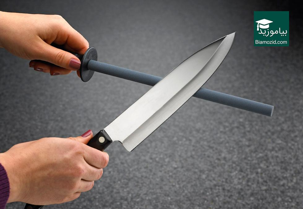 تصویر از روش صحیح تیزکردن چاقو با مسقل