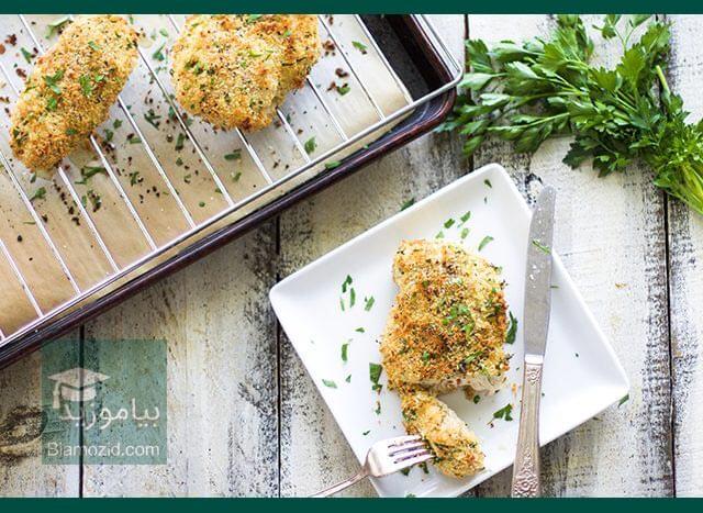 تصویر از شنیسل خانگی مرغ را بدون سرخ کردن، خودمان درست کنیم