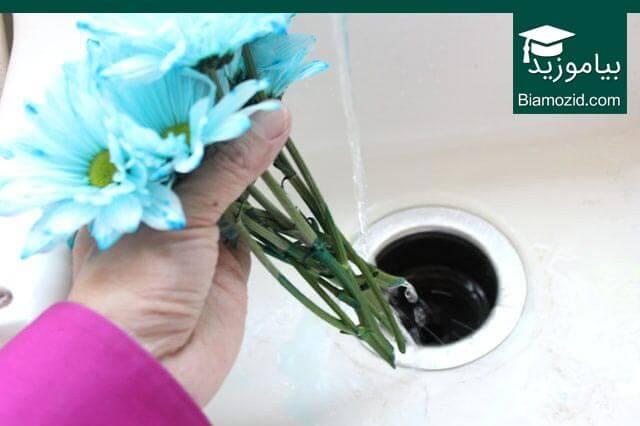 رنگی کردن گل - شستن گل