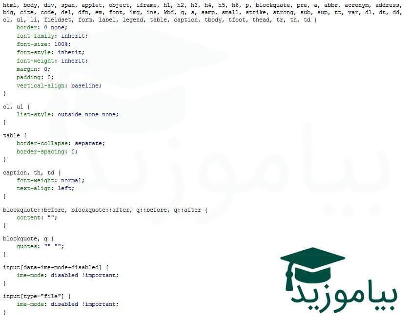 تصویر محیط کد نویسی css